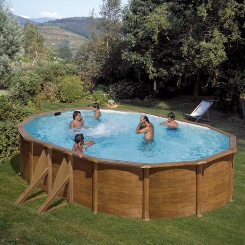 Сглобяем овален басейн с метална стена - имитация на дърво, размер: 610см x 375см, H=120см