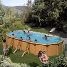 Сглобяем овален басейн с метална стена - имитация на дърво, размер: 730см x 375см, H=120см