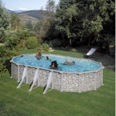 Сглобяем овален басейн с метална стена - имитация на камък, размер: 730см x 375см, H=120см