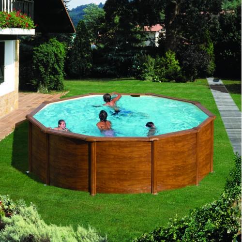 Сглобяем кръгъл басейн с метална стена - имитация на дърво, размер: ø460, H=120см