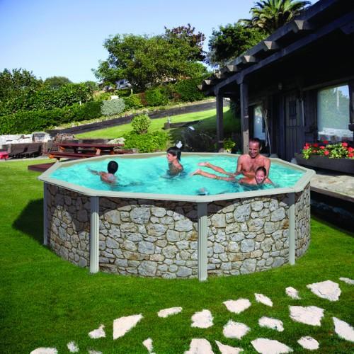 Сглобяем кръгъл басейн с метална стена - имитация на камък, размер: ø460, H=120см