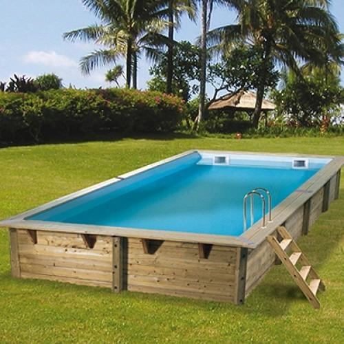 """Сглобяем правоъгълен басейн с дървена конструкция, размер: 350см х 650см, H=1.4см, модел """"Linea"""", Ubbink"""